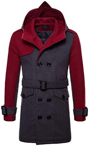 GH Mens Fashion Casual Double breasted Pea Coat Hooded