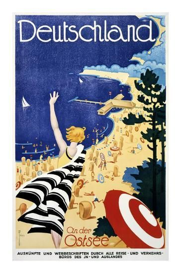 Deutschland An Der Ostsee Print Leonhard F W Fries Allposters Com In 2021 Vintage Travel Posters Vintage Posters Poster Art