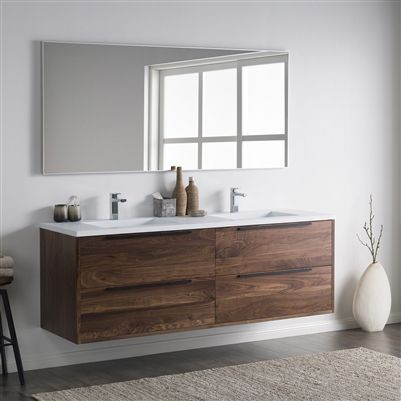 This Contemporary Double Sink Vanity Is Spacious Enough For Two To Keep Their Bathroom Essentials Hidden W Floating Bathroom Vanities 60 Vanity Bathroom Design