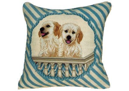 """14/""""x14/"""" Dog and Puppies Handmade Needlepoint Petite Point Pillow"""