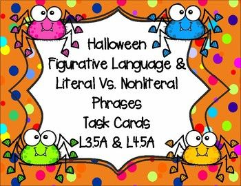 You May Also Like A Halloween Nonfiction Mixed Review This Fun Halloween Set Of Task Cards Is A Great Way To Practice F Task Cards Figurative Language Language