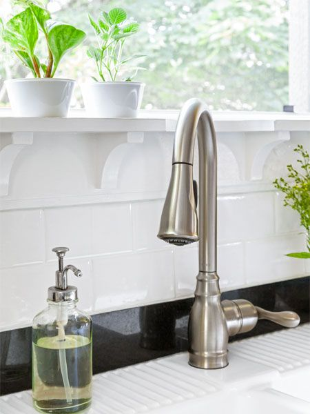 To keep fresh herbs on hand install a 6-inch-deep windowsill supported by curved brackets on the sink wall.