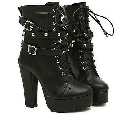 Punk Chic Ladies Studded High Heels Platform Lace-up Ankle Boots Shoes Black