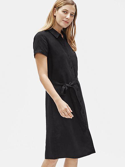 Tencel Linen Shirtdress With Belt In 2020 Shirt Dress Chambray Dress Eileen Fisher