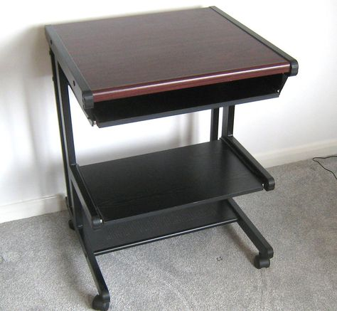 computer desk trolley workstation keyboard drawer printer shelf rh pinterest com