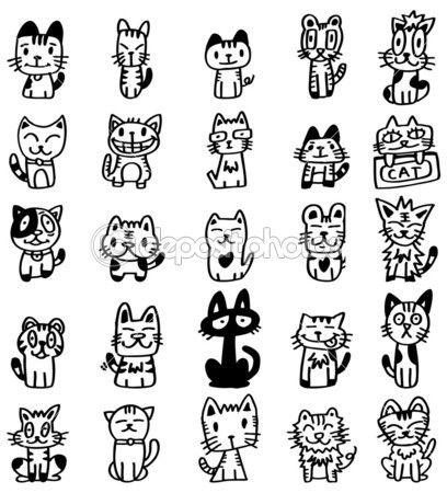 Hand Zeichnen Comic Katze Symbol Stockillustration 7861735