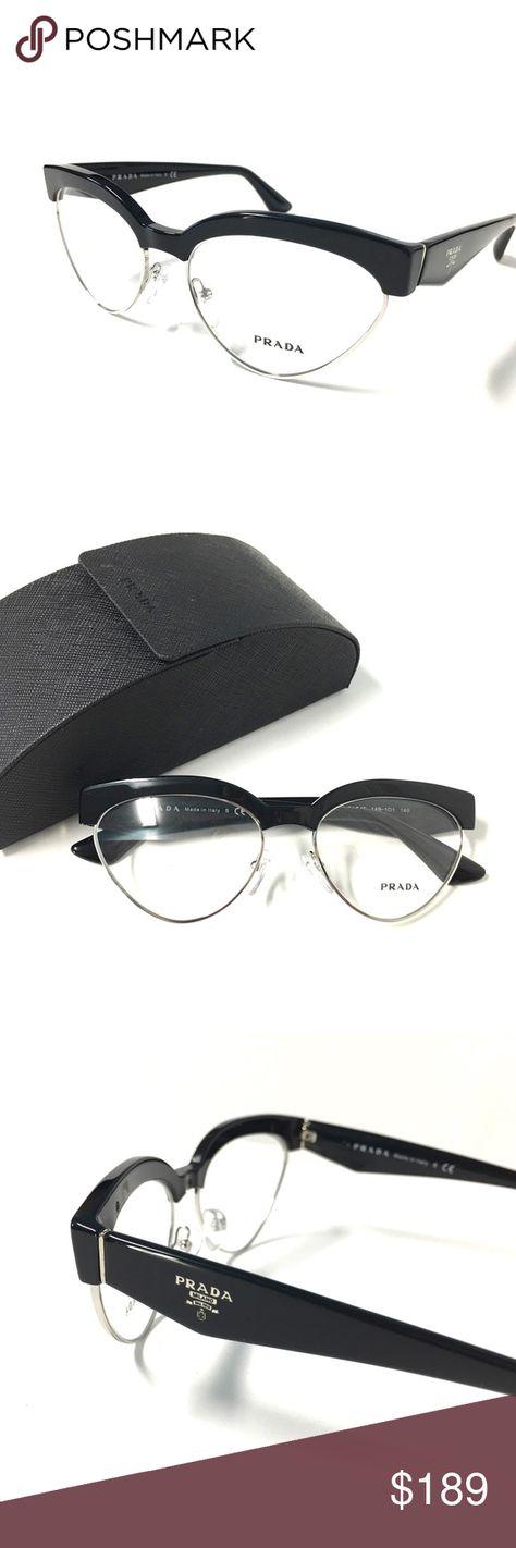 0b5b75db1ff4 New Women s Cat Eye Prada Eyeglasses Black Silver New Women s Cat Eye Prada  Optical Frame Black