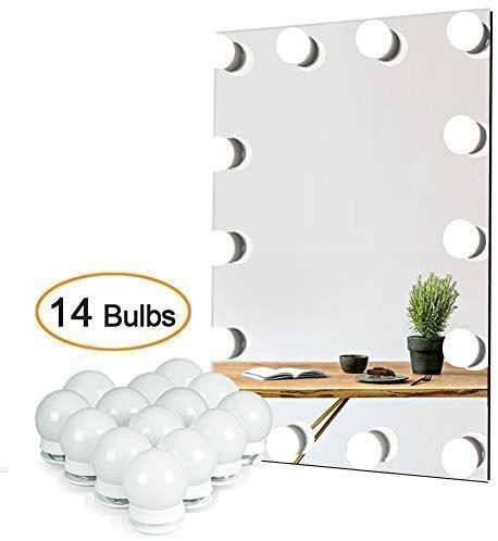 Waneway Vanity Lights For Mirror Diy Hollywood Lighted Makeup Vanity Mirror With Dimmable Lights Stick On Led Mirror Light Kit For Vanity Set Plug In Makeup Diy Vanity Lights