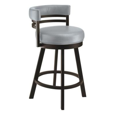 Taylor Gray Home Lincoln 26 In Gray Steel Swivel Barstool Bar