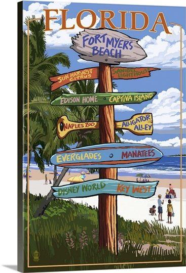 Fort Myers Beach Florida Destination Signs Fort Myers Beach Retro Travel Poster Fort Myers Beach Florida