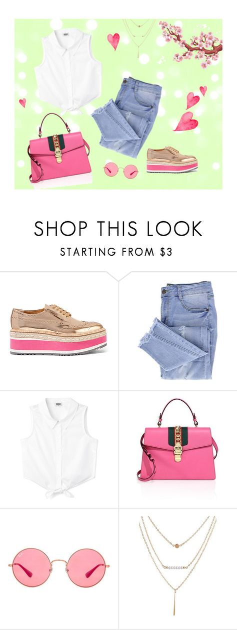 """♥"" by antonelamarc ❤ liked on Polyvore featuring Prada, Essie, Gucci and Ray-Ban"