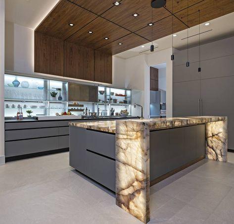Striking Contemporary Kitchen with marble kitchen worktop.  ronsprophoto #luxurykitchens