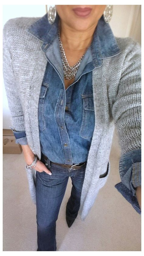 Fall Winter Outfits, Winter Dresses, Dress Winter, Summer Dress Outfits, Denim Shirt Outfits, Outfit Jeans, Grey Sweater Outfit, Winter Cardigan Outfit, Denim Shirts Women
