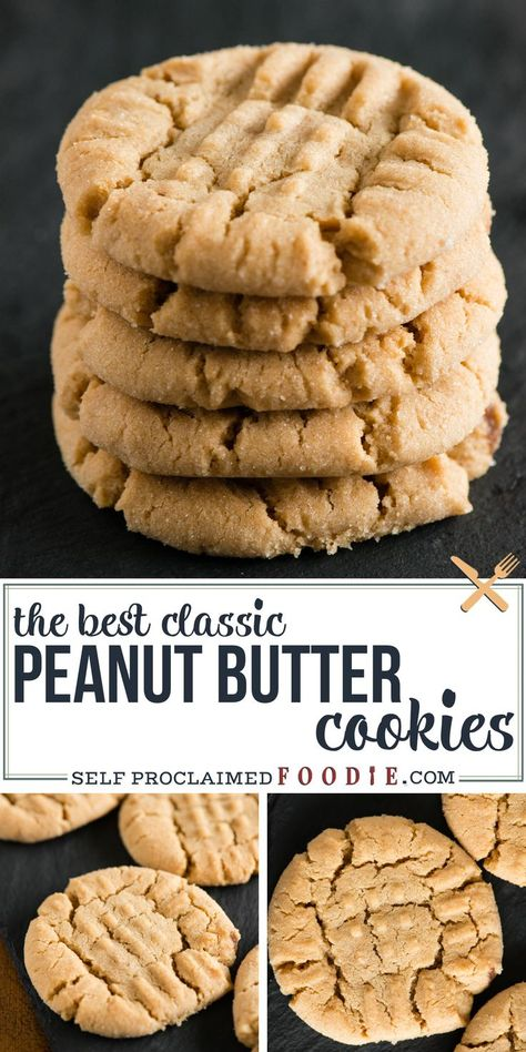 Granny's Classic Peanut Butter Cookies are crisp on the outside, chewy on the inside, and just so good! Enjoy the perfect peanut butter cookie recipe that has been in our family for generations! These cookies will hold their shape while baked. Homemade Peanut Butter Cookies, Classic Peanut Butter Cookies, Best Peanut Butter, Butter Chocolate Chip Cookies, Betty Crocker Peanut Butter Cookie Recipe, Peanut Better Cookies, Peanut Cookie Recipe, Peanut Butter Biscuits, Peanut Cookies