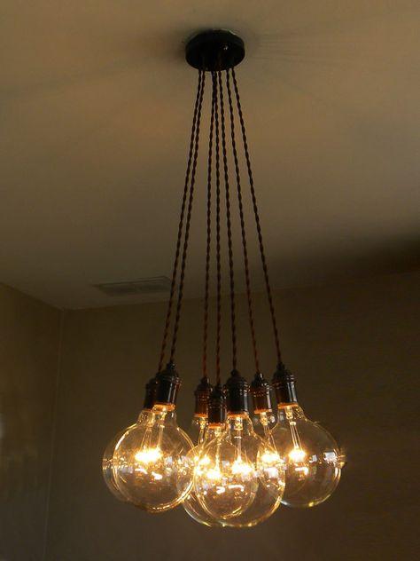 7 Cluster Standard -Brass Brown Twisted Chandelier Pendant Lighting modern chandelier Cloth Cords Industrial pendant lamp hanging fixture