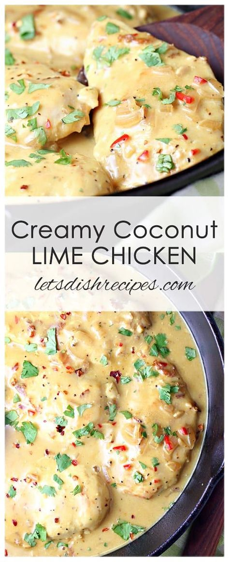 Creamy Coconut Lime Chicken Recipe: Chicken breasts are simmered in a slightly spicy coconut milk based sauce in this quick and easy weeknight dinner the whole family will love! #chicken #dinner #recipes