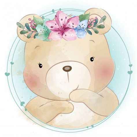 Cute Little Bear With Floral Portrait