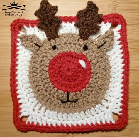 Rudolph the Reindeer Afghan Square