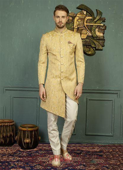 Yellow Jacquard Zari Work Party Wear Designer Mens Sherwani 591