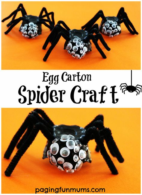 Egg Carton Spider Craft. So fun to make and spookily scary ;)