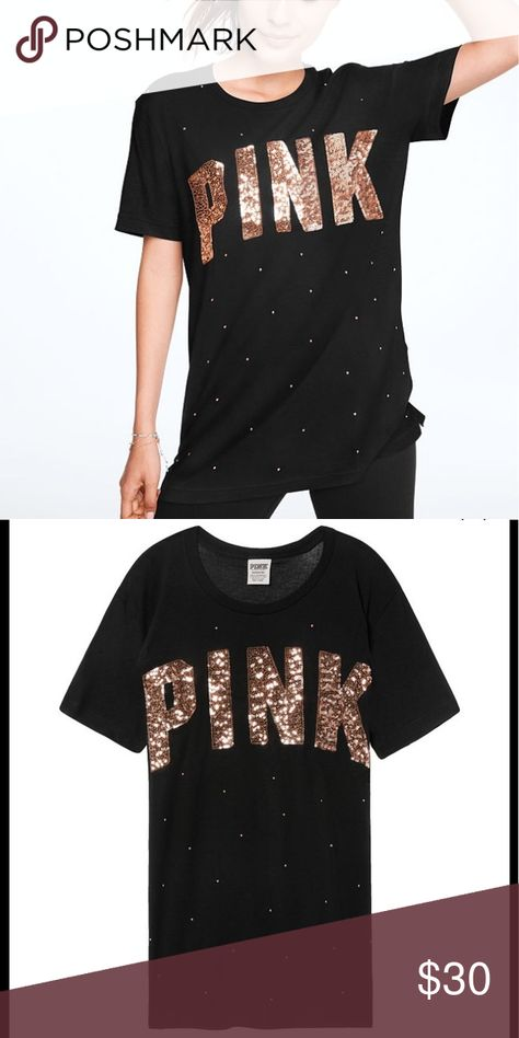 PINK VICTORIA/'S SECRET BLACK ROSE GOLD SEQUIN BLING  CAMPUS SHORT SLEEVE TEE VS
