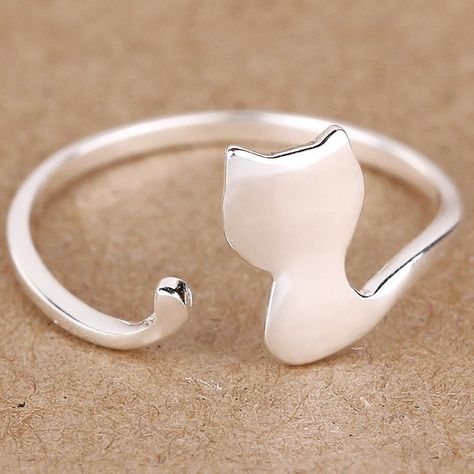 I like this! Lovely Cat Silver Rings Kitten Animal Adjustable Open Ring only $12.99 from ByGoods.com!