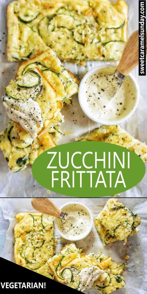 Zucchini Frittata is an easy vegetarian that is oven baked. Using simple ingredients this recipe is perfect to meal prep is freeze friendly and reheats well. #zucchinirecipes #recipe #easyrecipe #zucchinirecipes #breakfastrecipes #lunchrecipes #zucchinifrittata #frittata #vegetarianrecipes @sweetcaramelsunday