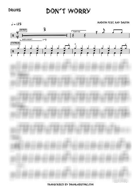 Madcon Don't worry DRUM SHEET MUSIC
