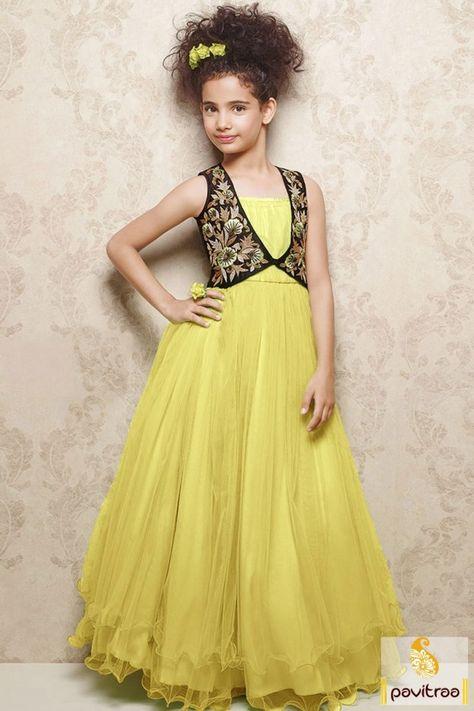 d1933345f Fashionable Indian kids wear light  yellow net baby girl designer gown  dress online collection for wedding. Buy stylish little baby girls wear  designer gown ...