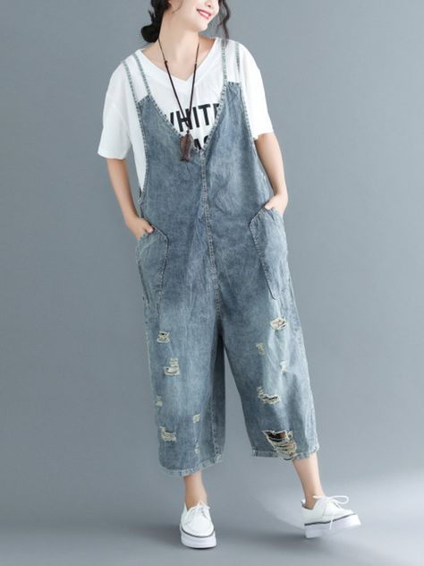 Ripped Straps Denim Plus Size Jumpsuits for Women