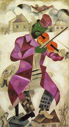 Marc Chagall, Le Violoniste Vert   Les Chapeaux dans l'Art   Village Hats #FredericClad