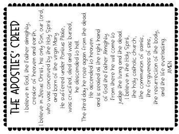 Apostles Creed Printable Prayer Page Apostles Creed