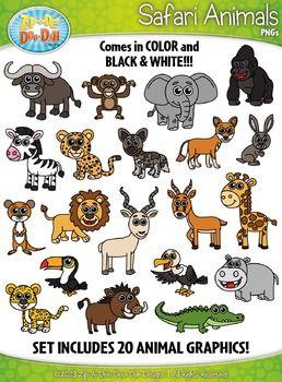 Safari Animals Clipart Zip A Dee Doo Dah Designs In 2021 Safari Animals Animal Clipart Rainforest Animals