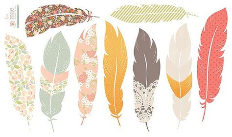 Fabric Wall Decal Floating Feathers reusable NO by LoveMaeStore