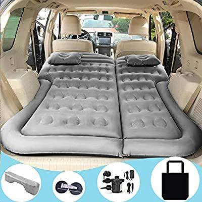 SUV Air Mattress Car Bed Camping Cushion Pillow Inflatable Thickened Car Air Bed with Electric Air Pump Flocking Surface Portable Sleeping Pad for Travel Camping Minivan Van Trunk