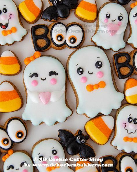 Candy Corn Cookies, Ghost Cookies, Spider Cookies, Iced Sugar Cookies, Owl Cookies, Mini Cookies, Halloween Cookies Decorated, Halloween Cookie Cutters, Mini Cookie Cutters