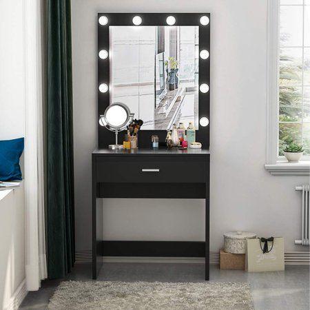 Tribesigns Vanity Set With Lighted Mirror Makeup Vanity Dressing Table Dresser Desk For Bedroom Black 10 Cool White Led Bulbs Walmart Com In 2020 Vanity Table Set Make Up Desk Vanity