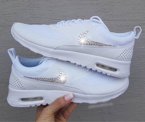 Swarovski Nike Air Max Thea Shoes In White Women s Bling Diamond Bride  Wedding Sneakers fee84d5b2cb0