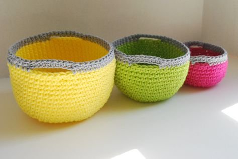 Crocheted nesting baskets-now that i learned how to crochet, I can make these :)