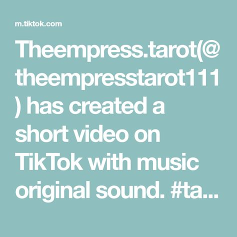 Theempress.tarot(@theempresstarot111) has created a short video on TikTok with music original sound. #tarot #tarotreading #fyp #spiritual #spiritguide #spiritualtiktok #witchtok