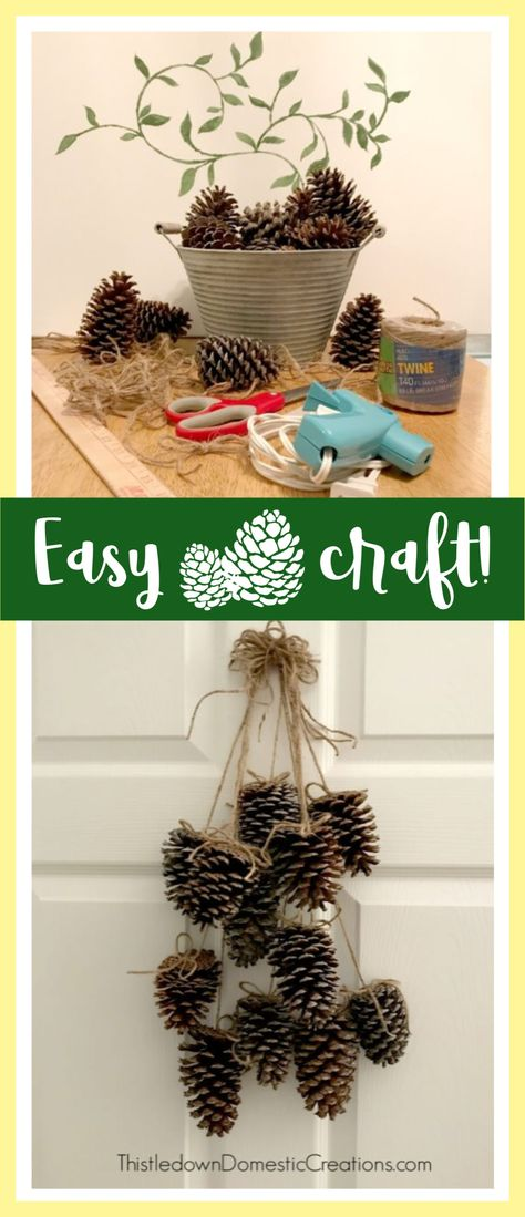 Do you have pinecones you want to craft with? This super easy hanging pinecone project is one you can create quickly with some of those pinecones from your yard! Easy Christmas Crafts, Simple Christmas, Fall Crafts, Handmade Christmas, Pine Cone Decorations, Christmas Decorations, Diy Crafts For Adults, Pine Cone Crafts, Handmade Crafts