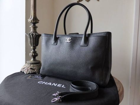 37b8067c382320 Chanel Cerf Executive Tote in Black Calfskin with Silver Hardware - SOLD