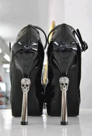 Shoes with skull heels