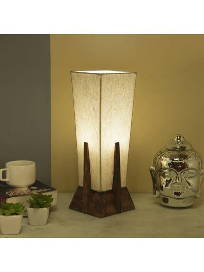 Bedside Table Lamp Retro Style Sheesham Wood Pyramid Table Lamp