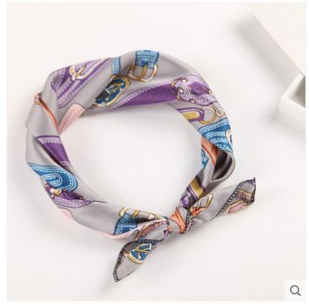 Flower Print Tie Band Pearl necklace Vintage Scarf Neckerchief Head-Neck Tie