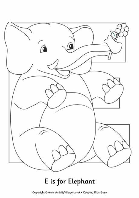 Coloring Alphabet Tracers E Alphabet Coloring Pages Elephant