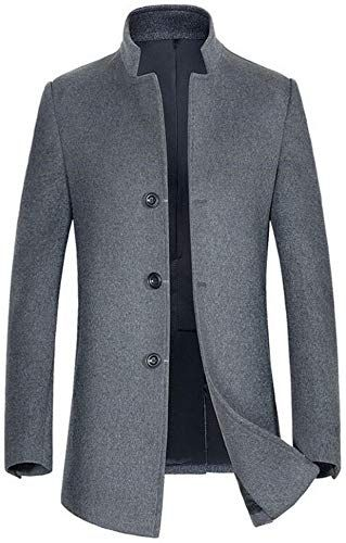 ZENTHACE Mens Winter Solid Single Breasted Thicken Warm Wool Blend Pea Coat