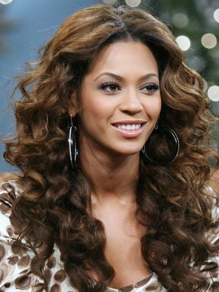 Beyonce Amazing Long Light Brown Wavy Human Hair Wigs Curls For Long Hair Curly Hair Styles Curled Hairstyles