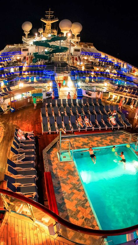 The pool decks of the Carnival Liberty cruise ship are filled with light, but not filled with people, late at night. Read all about it at Burnsland. Carnival Legend Cruise, Carnival Liberty Cruise, Cruise Travel, Cruise Vacation, Dream Vacations, Crown Princess Cruise Ship, Princess Cruises, Cruise Destinations, Best Cruise