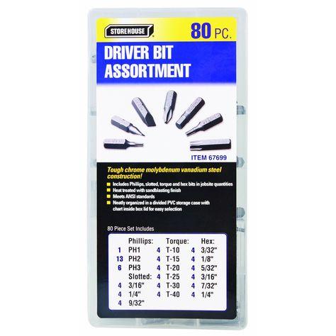 Driver Bit Assortment 80 Pc Drill Driver Drivers Box With Lid